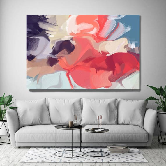 "Birth of an Idea. Abstract Paintings Art, Red Blue Extra Large Abstract Colorful Contemporary Canvas Art Print up to 72"" by Irena Orlov"