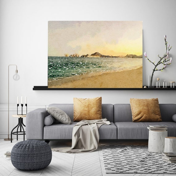 "The sun goes down, Beach Decor, Coastal Wall Canvas Art, Gold Emerald, Sea Canvas Print 80"" by Irena Orlov"