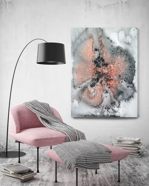 """Coastal Watercolor Abstract 32. Watercolor Abstract Red Black Canvas Art Print, Extra Large Canvas Art Print  up to 72"""" by Irena Orlov"""