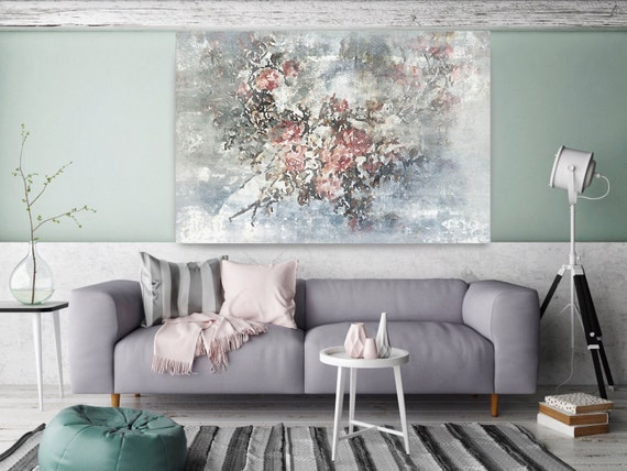 """ORL-8073-1 Softly. Floral Painting, Blue Pink Abstract Art, Large Abstract Colorful Contemporary Canvas Art Print up to 72"""" by Irena Orlov"""