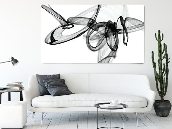 Black and White Wall Art Home Decor Wall Art Black White Abstract Canvas Print Brush Stroke Office Art Large Wall Art, In the deep silence