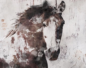 Gorgeous Horse. Horse Art Large Canvas, Horse Art, Brown Rustic Horse, Rustic Vintage Horse Wall Art Print, Abstract Horse, Equine Art,