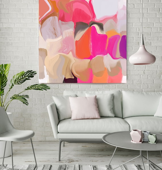 """Sunset Falls 1, Colorful Blur Abstract Painting, Orange Pink Gray Canvas Art Print up to 48"""" by Irena Orlov"""