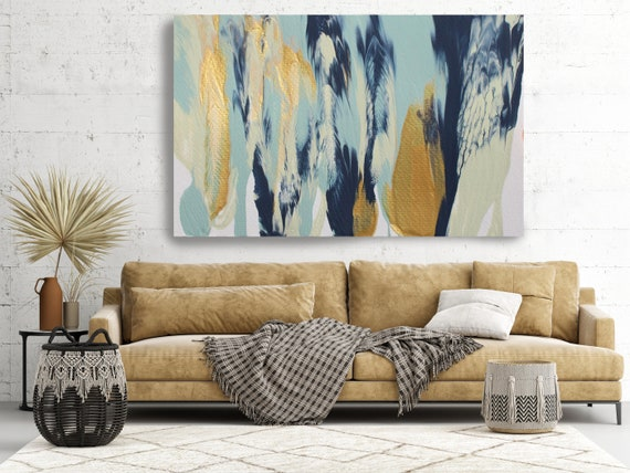 Gold  Reflection, Turquoise Gold Blue Abstract Painting  Modern Art Abstract Painting Extra Large Painting Extra Large Abstract Canvas Print