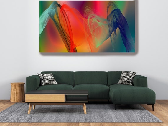 Green Red Contemporary Wall Art, Office Decoration Vibrant Wall Art Electric Canvas Print, Home Decor, New Media Color in the Lines 219
