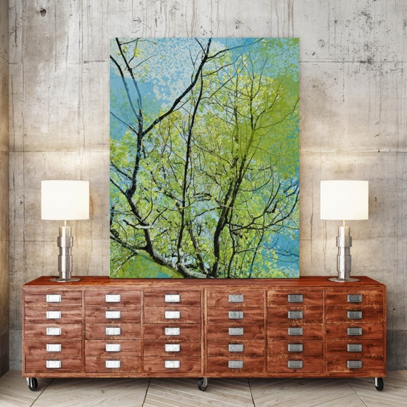 "Huge Rustic Landscape Painting Canvas Art Print, Extra Large Blue Green Black Canvas Art Print up to 80"" by Irena Orlov"