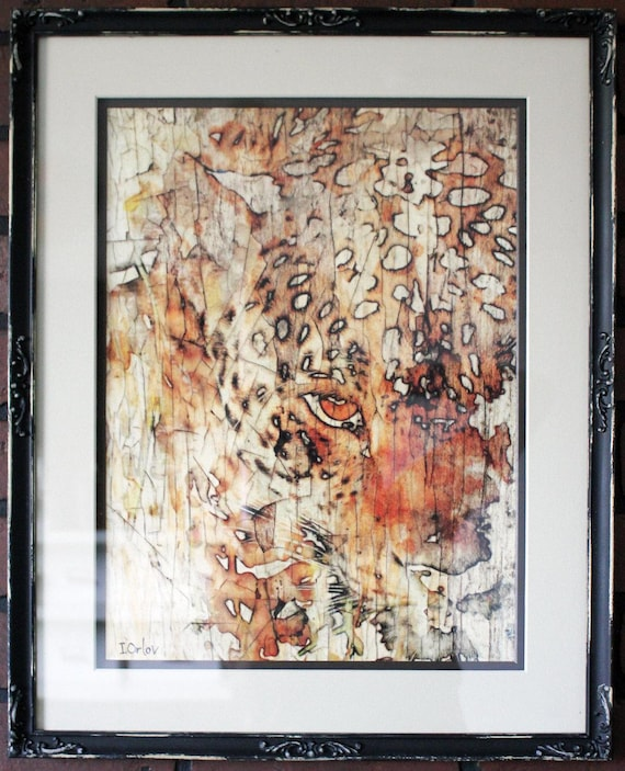 "Vintage  Contemporary Framed Signed Fine Art Print "" Big Cat"" 16"" X 20"" by Irena Orlov"