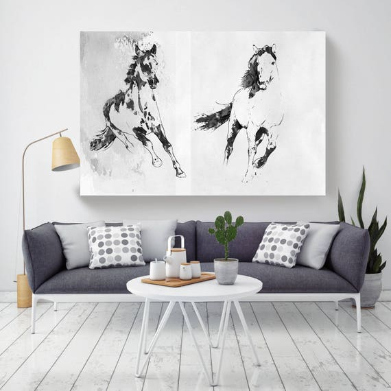 "Running horses 1. Extra Large Horse Wall Decor, Black Contemporary Horse, Large Contemporary Canvas Art Print up to 72"" by Irena Orlov"