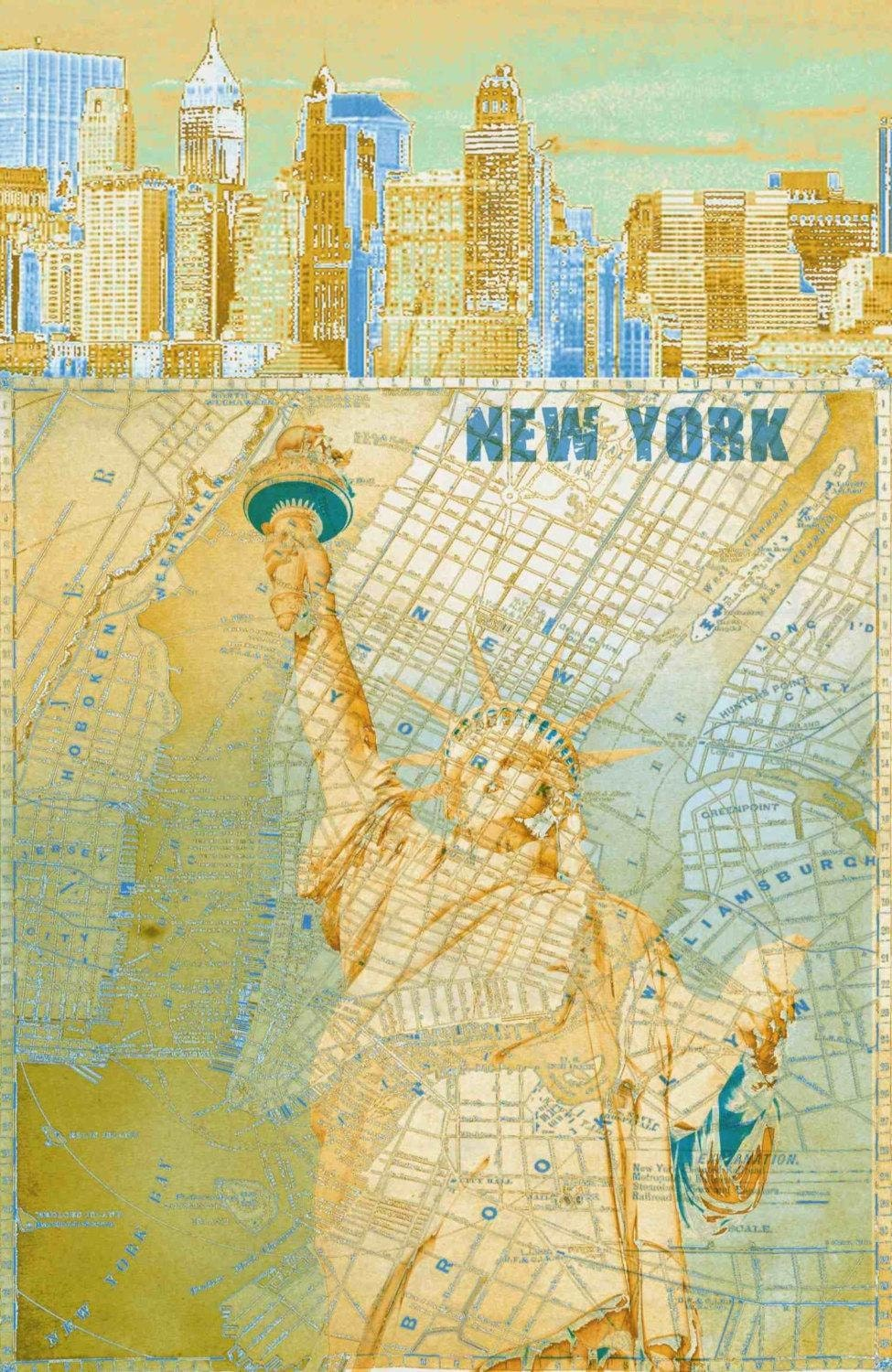 New York Vintage. Abstract World Map. Large Canvas Wall Art for Home ...