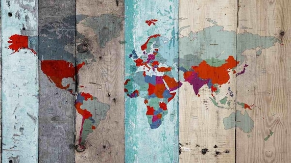 World Map on Wooden planks V. Vintage World Map. Large Canvas Wall Art for Home. Home Decor. Map on wood. Wall Decor by Irena Orlov.
