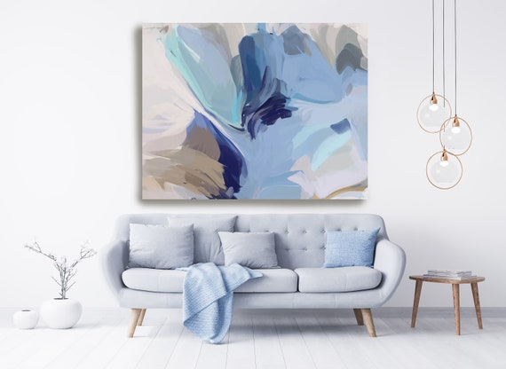 Powder Blue Beige Babyblue Large Abstract Art, Abstract Canvas Print Large Modern Abstract Wall Art, Abstract Painting, Moonlight shine 2