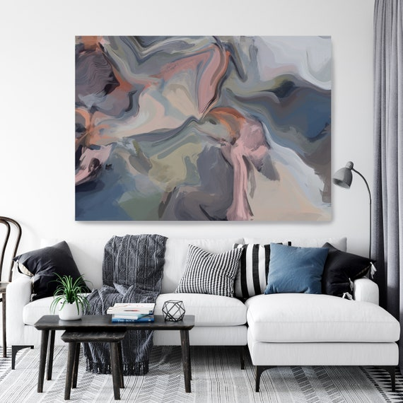 Blue Trending Extra Large Abstract Painting, Blue Pink Abstract Art, Large Wall Art Abstract Canvas Print, Magic Evening colorful abstract