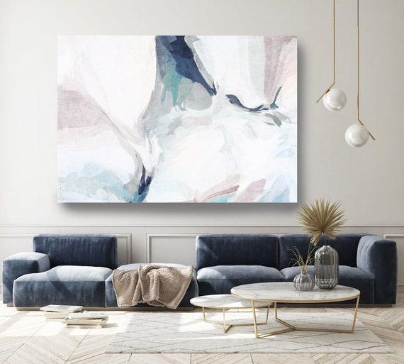 Contemporary Art Abstract Painting Print Canvas Blue Abstract Art, Extra Large Canvas Print, Abstract Blur Canvas, Fresh Air 4-2