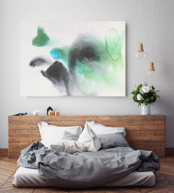 "Coastal Watercolor Abstract 89. Contemporary Abstract Green  Black Canvas Art Print, Extra Large Canvas Art Print up to 72"" by Irena Orlov"