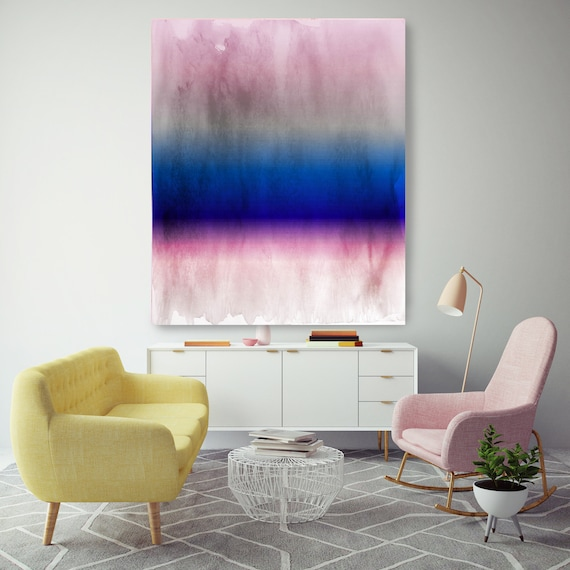 Abstract Minimalist Rothko Inspired 1-45. Abstract Painting Giclee of Original Wall Art, Purple Pink Blue Large Canvas Art Print up to 72""