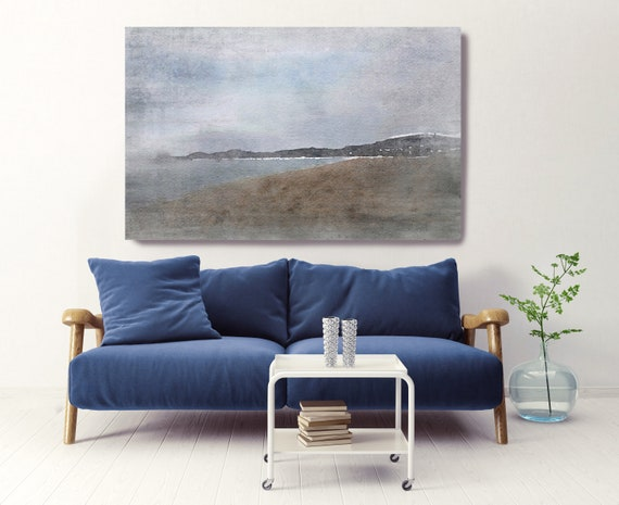 "Foggy Morning, Beach Decor, Coastal Wall Canvas Art, Blue Gray Seascape, Sea Canvas Print 80"" by Irena Orlov"