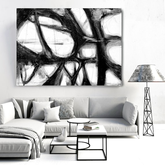 Minimalist Black and White,Black and White Art | Abstract Black Painting | Abstract Painting | Canvas Art Print | Rippled Water Surface 2