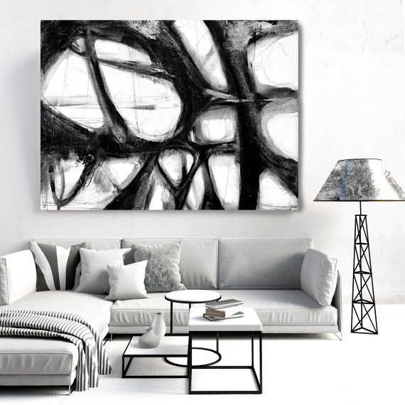 Black and White Art | Abstract Black Painting | Abstract Painting | Canvas Art Print | Rippled Water Surface 2