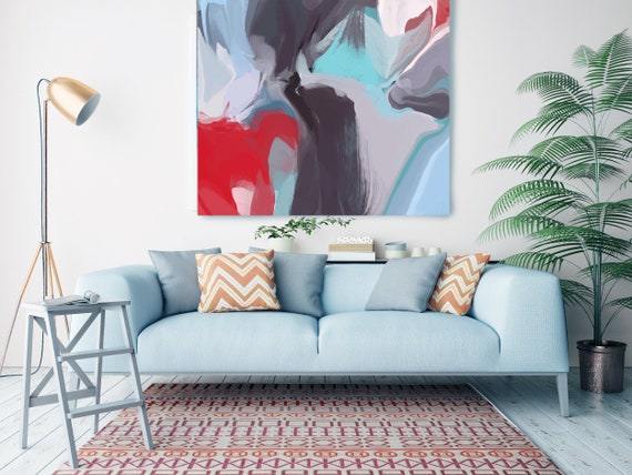 """Deep Inside 2, Huge Turquoise Red Blue Brown Abstract Modern Canvas Art Print, Canvas Painting Print up to 50"""" by Irena Orlov"""