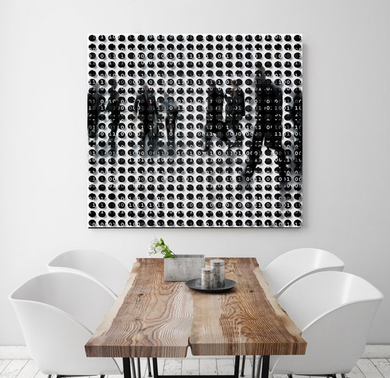 Binary code 4, Urban Art, Industrial Art, Office Art, People, Geometrical Art, Modern Minimal Canvas Art Print
