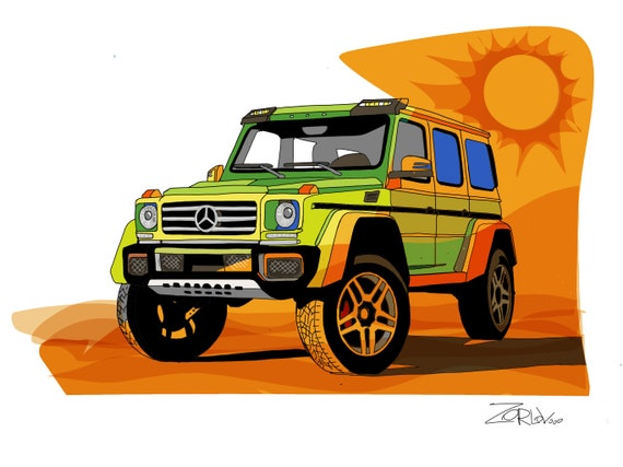 "G-Vagon, Luxury vehicle art print. Mercedes-Benz G-Vagon Green Orange Painting Canvas Art Print, Cars Wall Decor up to 72"" by Zeev Orlov"