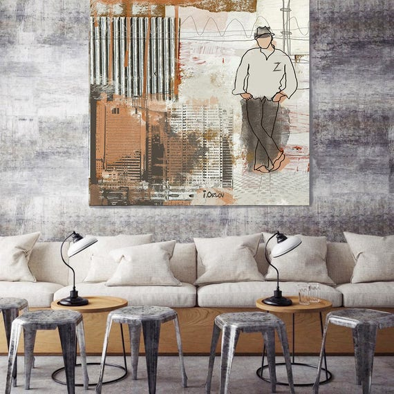 """ON SALE  Z, Large Architectural Cityscape Canvas Art Print. Rustic Brown URBAN Canvas Art Print up to 48"""" by Irena Orlov"""