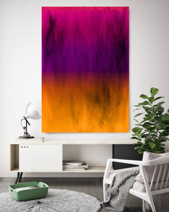 Abstract Minimalist Rothko Inspired 1-41. Abstract Painting Giclee of Original Wall Art, Purple Yellow Large Canvas Art Print up to 72""
