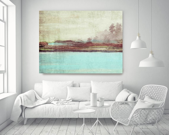 Blue Landscape. Rustic Blue Brown Landscape Canvas Art Print, Nature Canvas Art Green, Huge Canvas Wall Art, Big Canvas Art up to 72""