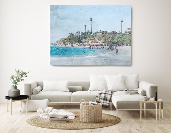 Dana Point. Huge Rustic Seascape Painting Canvas Art Print, Seascape Large Blue Canvas Art Print, Beach Art, Beach Painting, Coastal Artwork