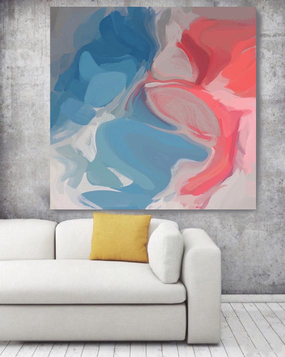 "The Whole Mass. Original Oil Painting on Canvas, Contemporary Abstract Blue, Red, Pink Trend Colors Oil Painting up to 50"" by Irena Orlov"