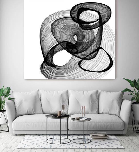 "ORL-5994 Abstract Black and White 17-31-59. New Media Abstract Black and White Canvas Art Print, Canvas Art Print up to 50"" by Irena Orlov"