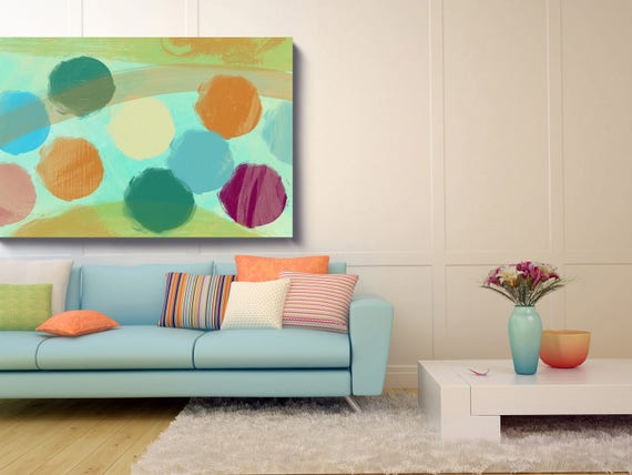 """Abstract Circles 677. Geometrical Abstract Art, Wall Decor, Large Abstract Green Blue Orange Canvas Art Print up to 72"""" by Irena Orlov"""