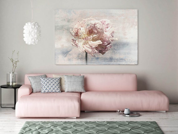 "ORL-7985-1 Shabby Chic Floral. Floral Painting, Pink Abstract Art, Abstract Colorful Contemporary Canvas Art Print up to 72"" by Irena Orlov"