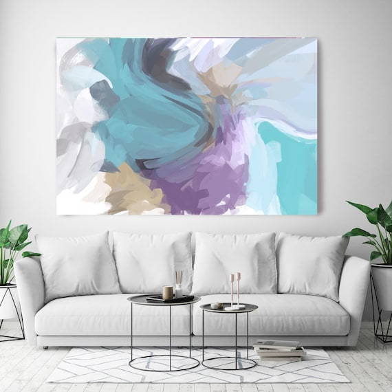 "The Color Movement 5, Abstract Painting Modern Wall Art Painting Canvas Art Print Art Modern Yellow Purple Blue up to 80"" by Irena Orlov"