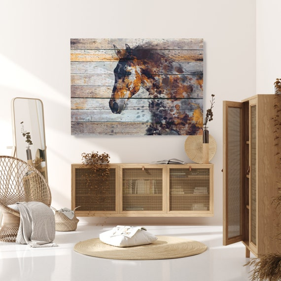 Copper Horse on Wood, Natural Rustic Horse Art Print on WOOD, Fire Horse Art on Wood Equestrian Farmhouse ART Barn Horse, Farmhouse Wall Art