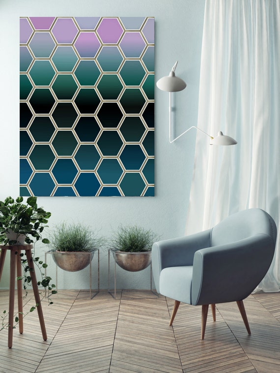 """ORL-9135 Colorful Geometric Shapes 82. Large Abstract Geometrical Canvas Art, Green Industrial Abstract Wall Art Print up to 72"""""""