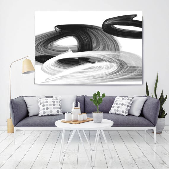 "Squeezed through. Contemporary Abstract Black and White, Unique Wall Decor, Large Contemporary Canvas Art Print up to 72"" by Irena Orlov"