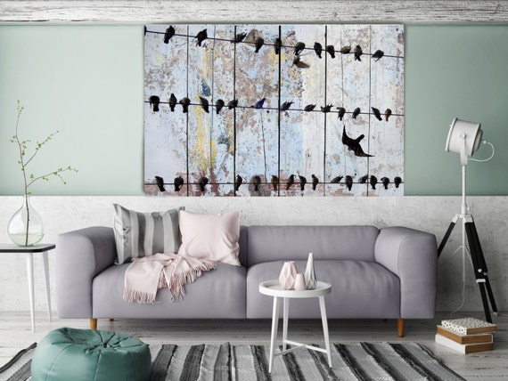 "Spring birds II. Rustic Blue Birds on Wire Canvas Art Print, Birds Wall decor, Huge Canvas up to 72"" by Irena Orlov"