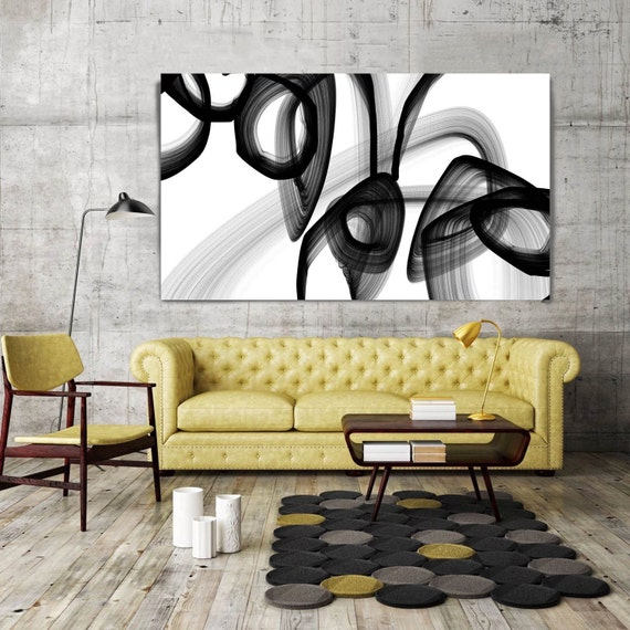 "A Secret Code. Abstract Black and White, Unique Abstract Wall Decor, Large Contemporary Canvas Art Print up to 72"" by Irena Orlov"