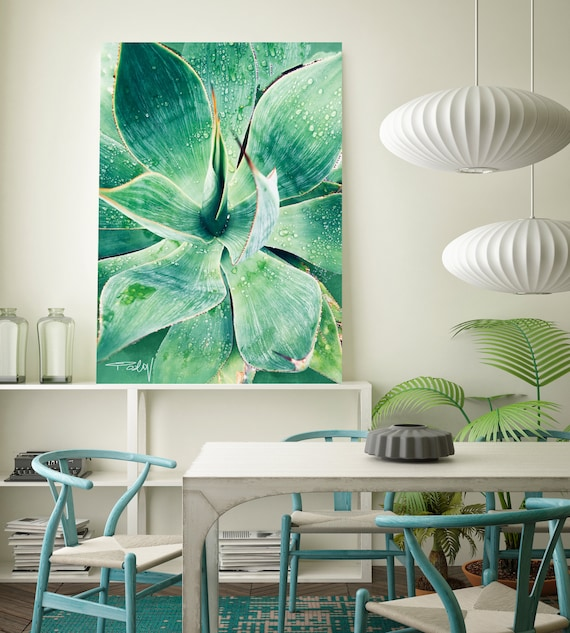 "Green Tropical Succulent Beauty. Extra Large Green Succulent Canvas Art Print, Tropical Canvas Art Print  up to 72"" by Irena Orlov"