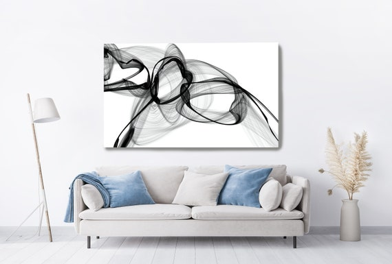 Black and White Wall Art Home Decor Wall Art Black White Abstract Canvas Print Brush Stroke Office Art Large Wall Art,Minimal Art