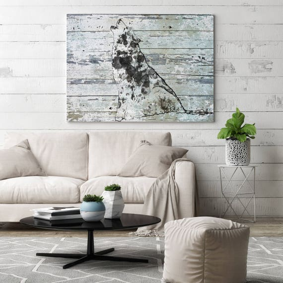 "Wild Wolf. Extra Large Wolf Canvas, Unique Wolf Wall Decor, Gray Blue Rustic Wolf Canvas Art Print up to 72"" by Irena Orlov"