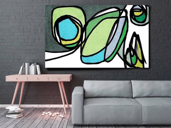 "Vibrant Colorful Abstract-0-22. Mid-Century Modern Green Canvas Art Print, Mid Century Modern Canvas Art Print up to 72"" by Irena Orlov"