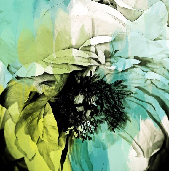 """5361-6-1 August II. Extra Large Floral Fine Art Teal Green Canvas Print up to 48"""", Contemporary Floral Wall Decor by Irena Orlov"""