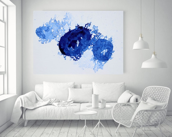 """Blue and White Watercolor abstract splash 2.Watercolor Abstract, Extra Large Abstract Contemporary Canvas Art Print up to 72"""" by Irena Orlov"""
