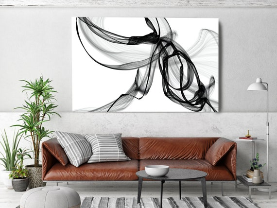 Black and White Wall Art, Hazy Silhouette, Home Decor Wall Art Black White Abstract Canvas Print Brush Stroke Minimalist Office Art Wall Art