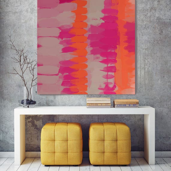 "Kaleidoscope N-156-2. Red Orange Abstract Art, Wall Decor, Large Abstract Colorful Contemporary Canvas Art Print up to 48"" by Irena Orlov"