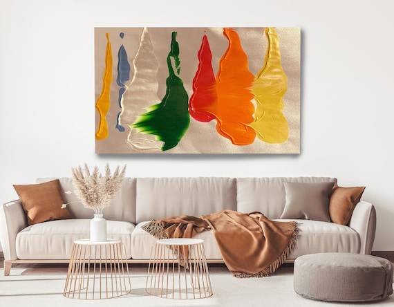 Joyful Color Blend, Green Orange Gold Abstract Painting Modern Art Abstract Painting Extra Large Painting Extra Large Abstract Canvas Print