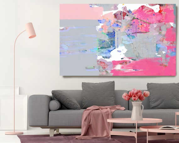 The Crimson Air Abstract Painting on Canvas, Extra Large Canvas Print, Blue Oversized Textured Art, Art for Interiors, Bright Color Textured