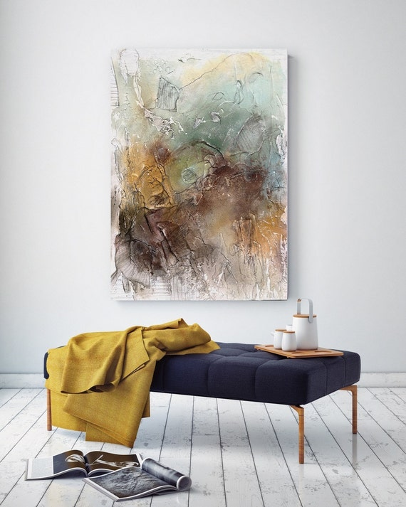 Summer Splash. Abstract Paintings Art, Wall Decor, Huge Abstract Painting Texture Modern, Canvas Art Print, Teal Yellow Brown Abstract Art